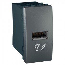 Механизъм USB зарядно 1М графит