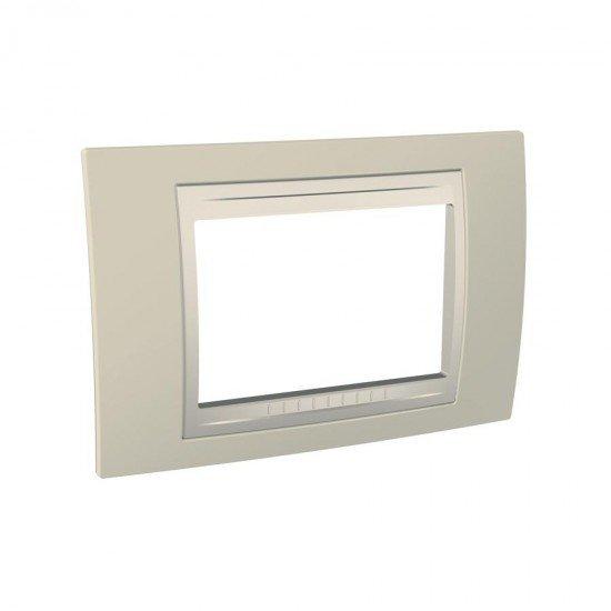 Рамка декоративна тримодулна светлобежов/бял
