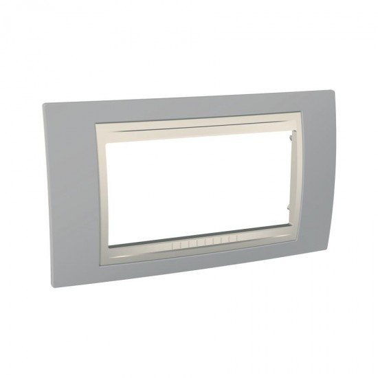 Рамка декоративна четиримодулна светлосив/бял