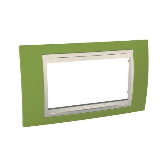 Рамка декоратива четиримодулна ярко зелено/слонова кост