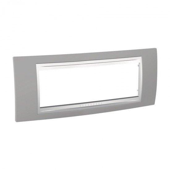 Рамка декоративна шестмодулна светлосив/бял