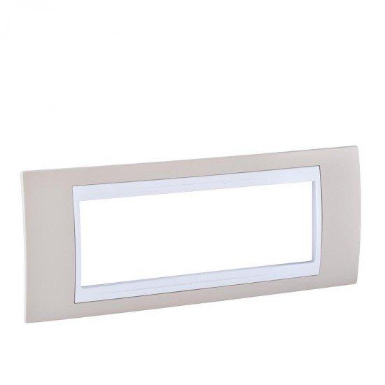 Рамка декоративна шестмодулна светлобежов/бял