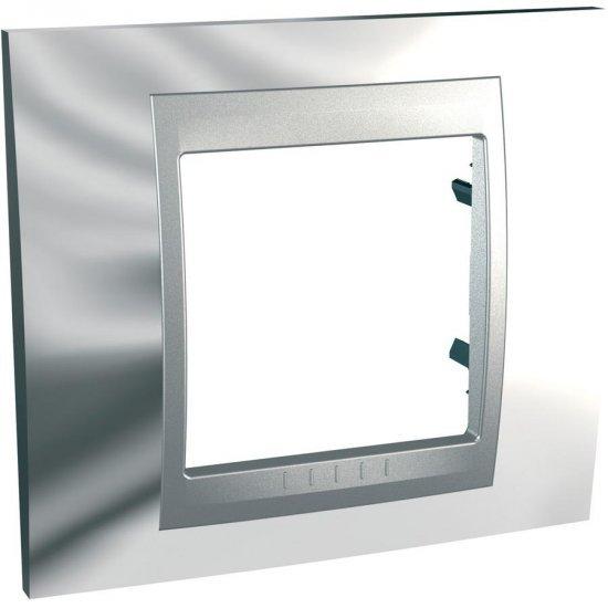 Рамка декоративна единична сатениран хром/алуминий