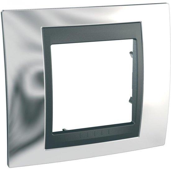 Рамка декоративна единична сатениран хром/ графит