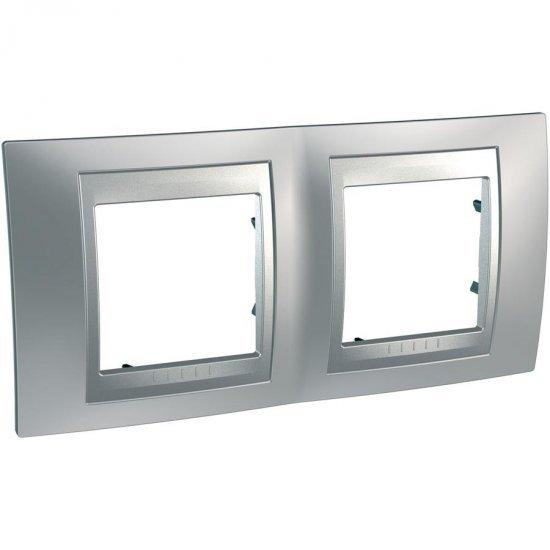 Рамка декоративна двойна хоризонтална сатениран хром/алуминий