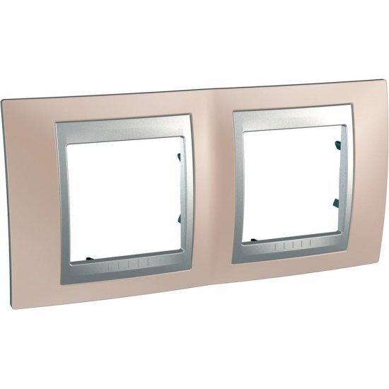 Рамка декоративна двойна мед оникс/алуминий
