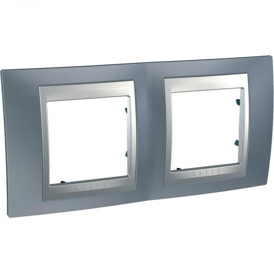 Рамка декоративна двойна хоризонтална сив металик/алуминий