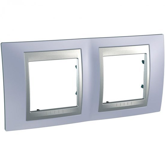 Рамка декоративна двойна хоризонтална берил/алуминий