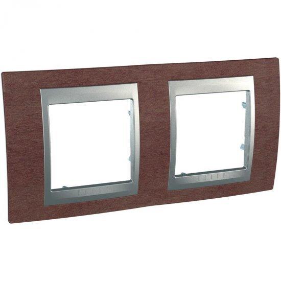 Рамка декоративна двойна хоризонтална табако/алуминий