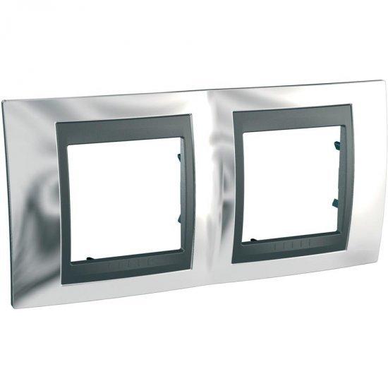 Рамка декоративна двойна хоризонтална сатениран хром/графит