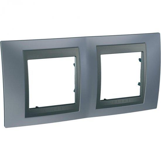 Рамка декоративна двойна хоризонтална сив металик/графит
