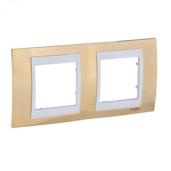 Рамка декоративна двойна злато/бял