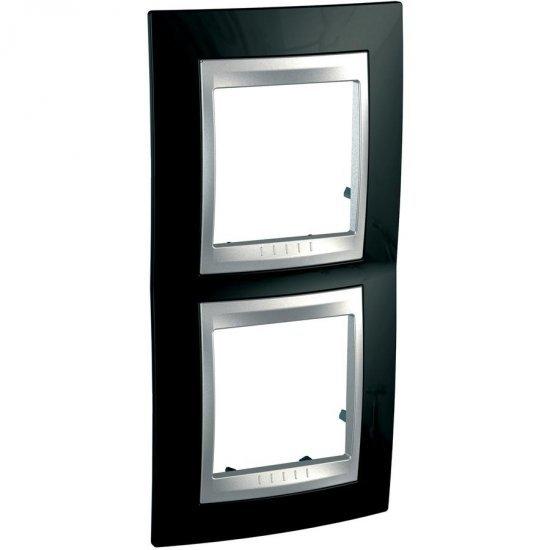 Рамка декоративна двойна вертикална черен родий/алуминий