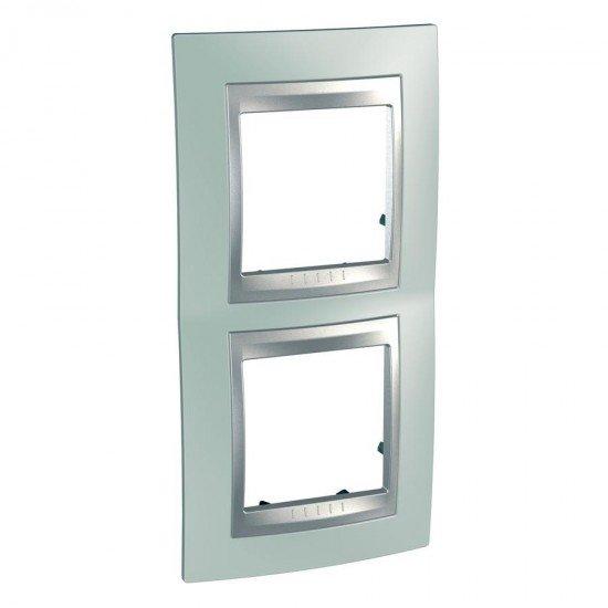 Рамка декоративна двойна вертикална зелен флуоресцентен/алуминий