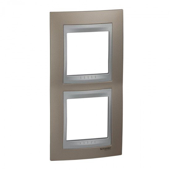 Рамка декоративна двойна вертикална мед оникс/алуминий