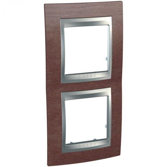 Рамка декоративна двойна вертикална табако/алуминий