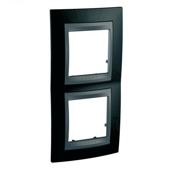 Рамка декоративна двойна вертикална черен родий/графит