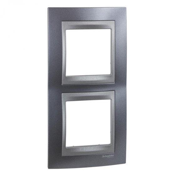 Рамка декоративна двойна вертикална сив металик/графит