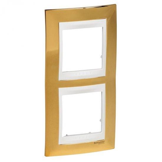 Рамка декоративна двойна вертикална злато/бял