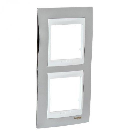 Рамка декоративна двойна вертикална хром/бял