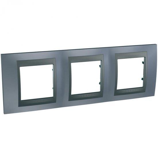 Рамка декоративна тройна, сив металик, графит
