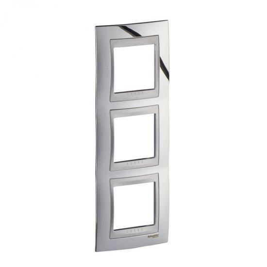 Рамка декоративна тройна вертикална сатениран хром/алуминий