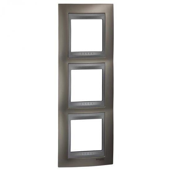 Рамка декоративна тройна вертикална никел мат/алуминий