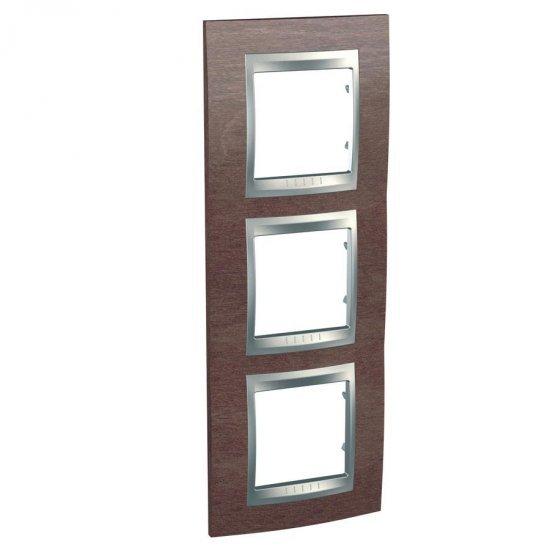 Рамка декоративна тройна вертикална табако/алуминий