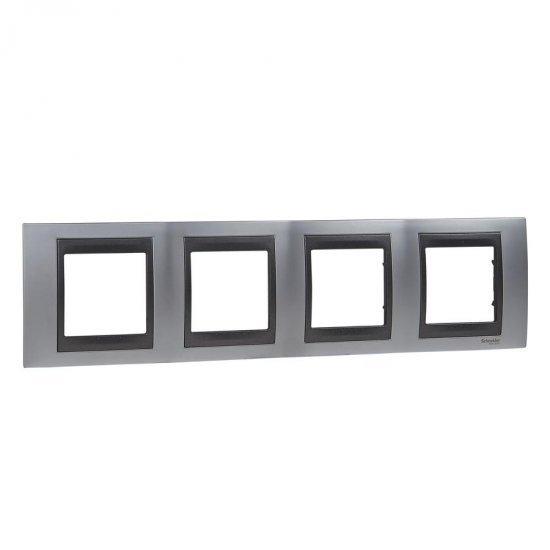 Рамка декоративна четворна сатeниран хром/графит
