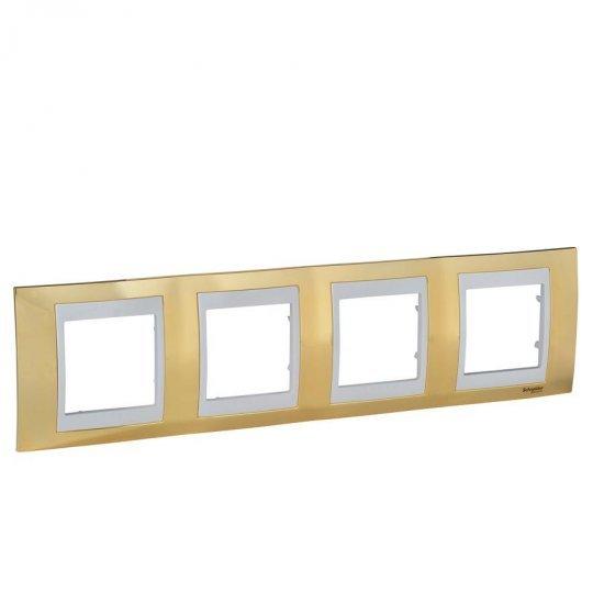 Рамка декоративна четворна злато/слонова кост