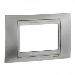 Рамка декоративна тримодулна  сатениран хром/алуминий