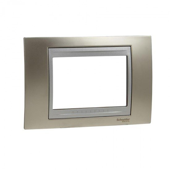 Рамка декоративна тримодулна никел/алуминий