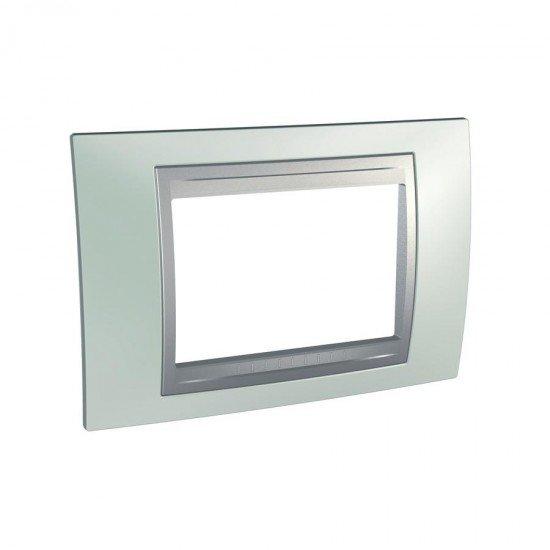 Рамка декоративна тримодулна  зелен флуоресцентен/алуминий