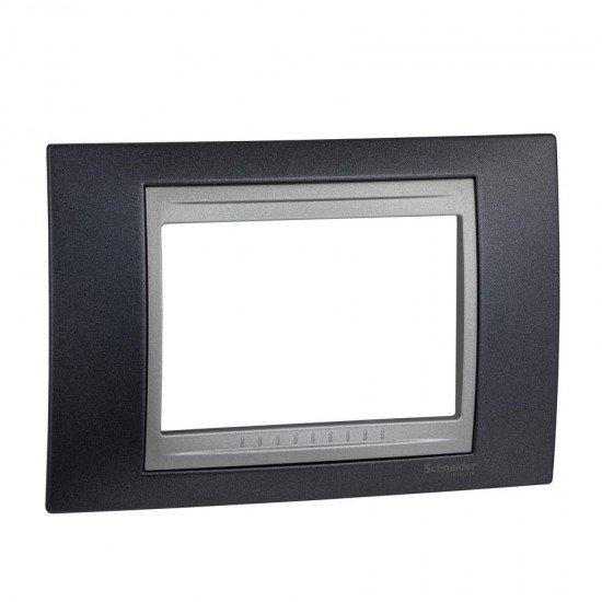Рамка декоративна тримодулна сив металик/алуминий