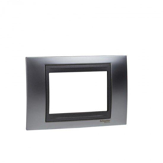 Рамка декоративна тримодулна  сатениран хром/графит