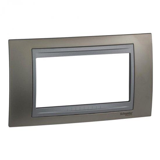 Рамка декоративна четиримодулна никел/алуминий