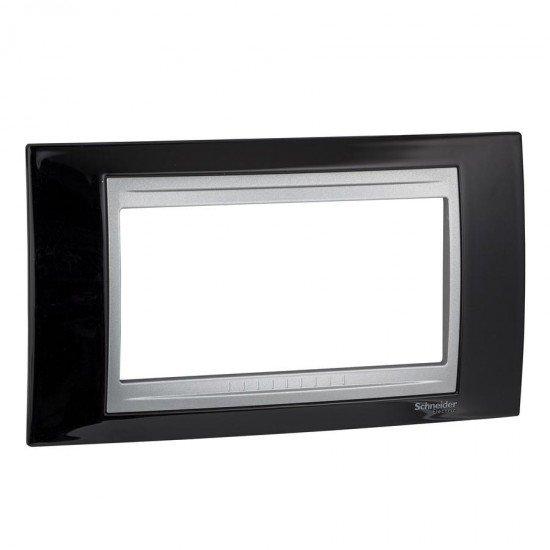 Рамка декоративна четиримодулна черен родий - алуминий