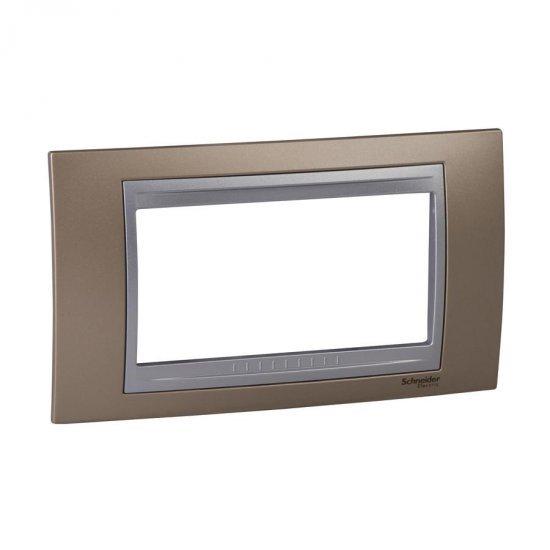 Рамка декоративна четиримодулна мед оникс/алуминий