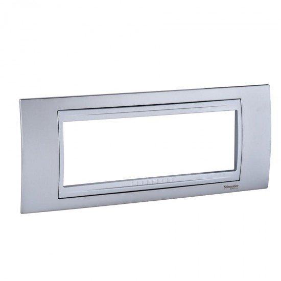 Рамка декоративна шестмодулна сатениран хром/алуминий