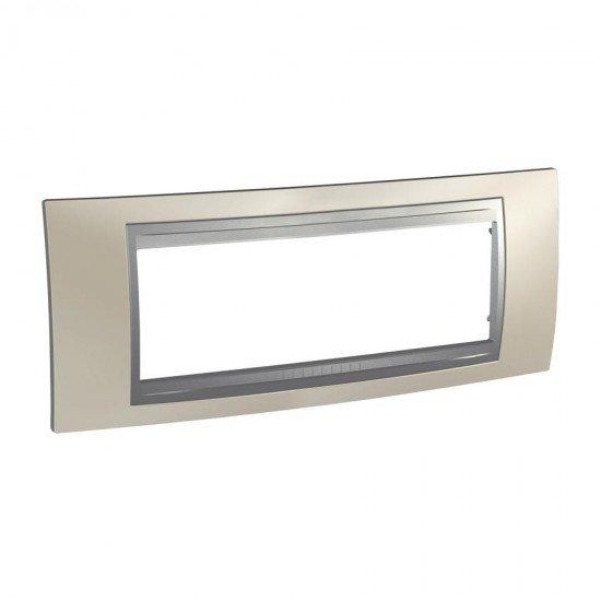 Рамка декоративна шестмодулна никел мат/алуминий