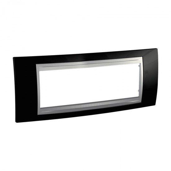 Рамка декоративна шестмодулна черен родий алуминий