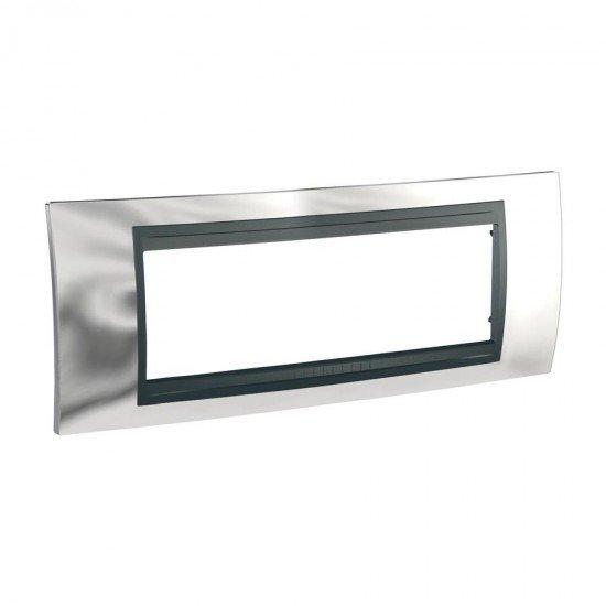 Рамка декоративна шестмодулна сатениран хром/графит