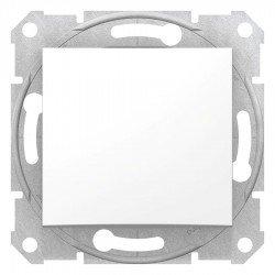 Еднополюсен ключ, бял (механизъм + монт. рамка)
