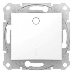 Двуполюсен ключ, бял (механизъм + монт. рамка)