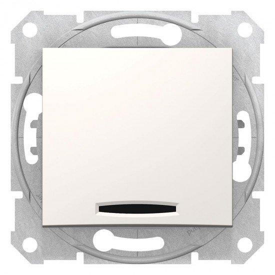 Двуполюсен ключ с индикаторна лампа, крема (механизъм+монт. рамка)