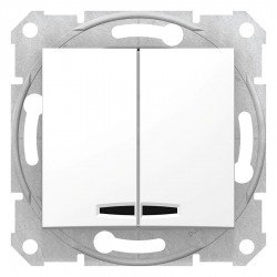 Сериен ключ със сигнална лампа, бял (механизъм + монт. рамка)