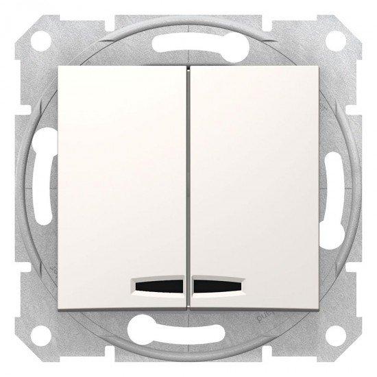 Сериен ключ със сигнална лампа, крема (механизъм + монт. рамка)