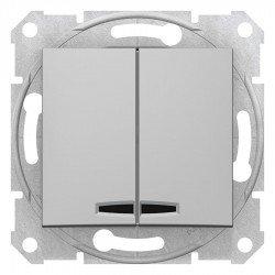 Сериен ключ със сигнална лампа, алуминий (механизъм + монт. рамка)