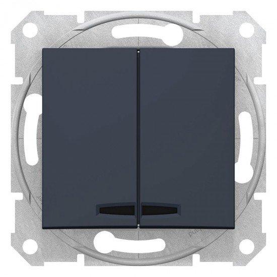 Сериен ключ със сигнална лампа, графит (механизъм + монт. рамка)