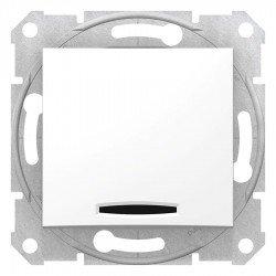 Еднополюсен ключ с индикация, бял